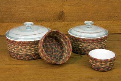 Honey, Vanilla, and Ginger Braided Jute Baskets (Set of 4)