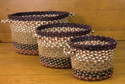 Burgundy and Mustard Braided Utility Basket - Medium