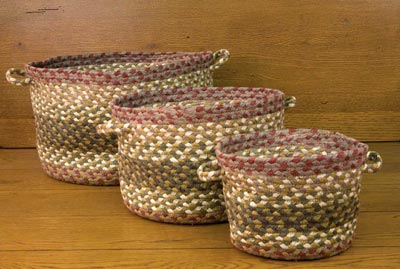 Olive, Burgundy, Gray Braided Utility Basket - Mini