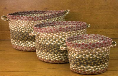 Olive, Burgundy, Gray Braided Utility Basket - Medium