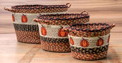 Harvest Pumpkin Printed Jute Utility Basket - Medium