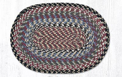 Burgundy, Blue, and Gray Cotton Braided Placemat - Oval