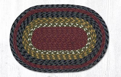 Burgundy, Olive, and Charcoal Cotton Braided Placemat - Oval