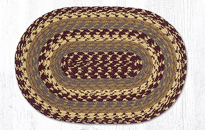 Burgundy, Gray, and Mustard Cotton Braided Placemat - Oval