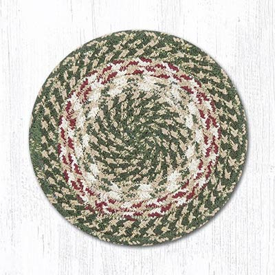 Green and Burgundy Cotton Braid Trivet