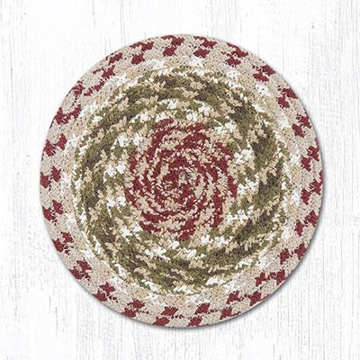 Olive, Burgundy, and Gray Cotton Braid Trivet