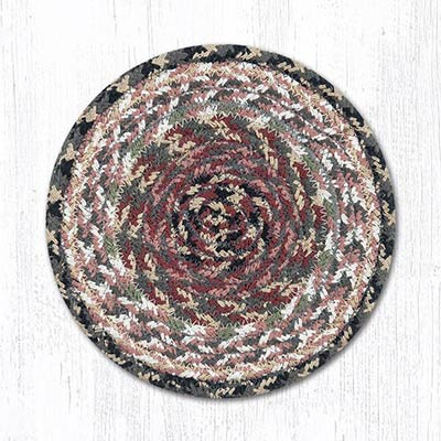Burgundy, Gray, and Creme Cotton Braid Trivet