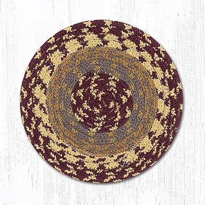 Burgundy, Gray, and Mustard Cotton Braid Trivet