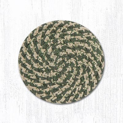 Green and Burgundy Cotton Braid Coaster