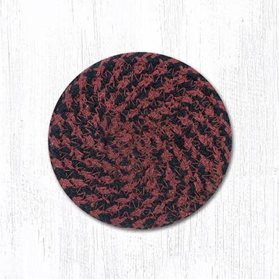 Burgundy and Mustard Cotton Braid Coaster