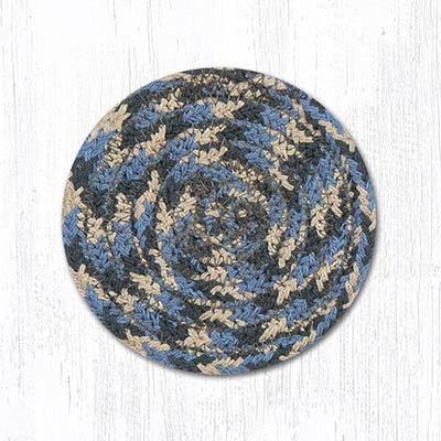 Burgundy, Blue, and Gray Cotton Braid Coaster