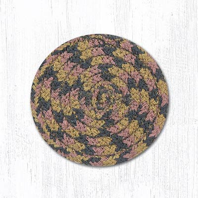 Burgundy, Gray, and Creme Cotton Braid Coaster