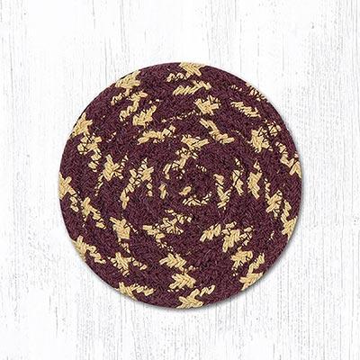 Burgundy, Gray, and Mustard Cotton Braid Coaster