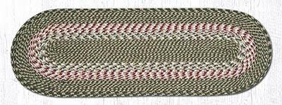 Green and Burgundy Cotton Braid Tablerunner - 36 inch