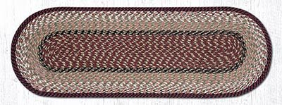 Burgundy and Mustard Cotton Braid Tablerunner - 36 inch