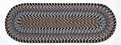 Burgundy, Blue, and Gray Cotton Braid Tablerunner - 36 inch