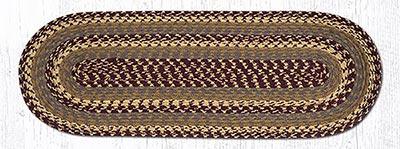 Burgundy, Gray, and Mustard Cotton Braid Tablerunner - 36 inch