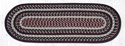 Burgundy, Black, and Tan Cotton Braid Tablerunner - 36 inch