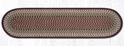 Burgundy and Mustard Cotton Braid Tablerunner - 48 inch