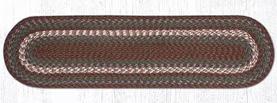 Burgundy and Gray Cotton Braid Tablerunner - 48 inch