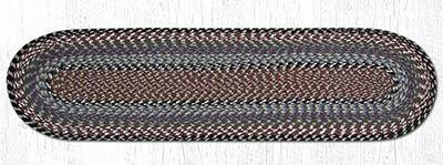 Burgundy, Blue, and Gray Cotton Braid Tablerunner - 48 inch