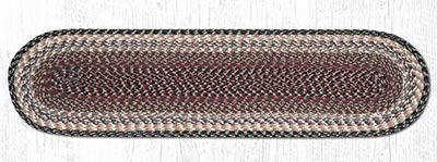 Burgundy, Gray, and Creme Cotton Braid Tablerunner - 48 inch