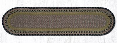 Brown, Black, and Charcoal Cotton Braid Tablerunner - 48 inch