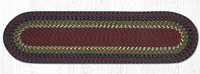 Burgundy, Olive, and Charcoal Cotton Braid Tablerunner - 48 inch