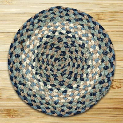 Blue and Natural Braided Tablemat - Round
