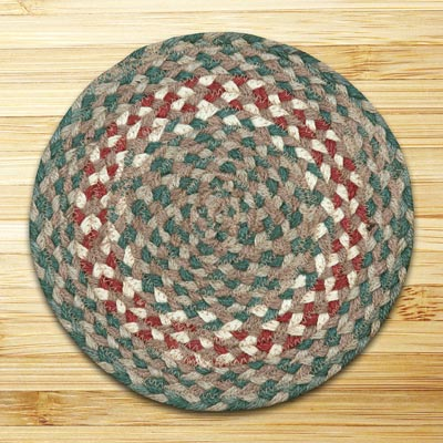 Green and Burgundy Braided Tablemat - Round