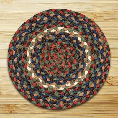 Burgundy and Gray Braided Tablemat - Round