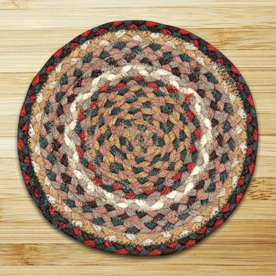 Burgundy and Ivory Braided Tablemat - Round