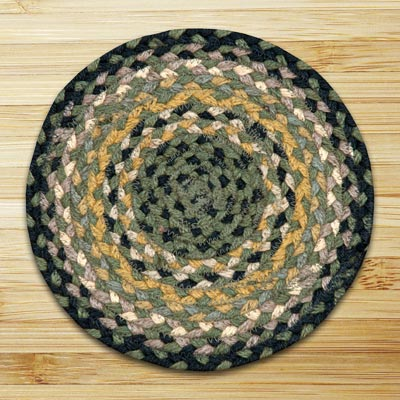 Black, Mustard, and Creme Braided Tablemat - Round