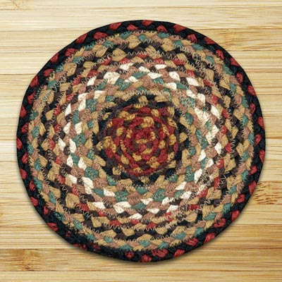 Burgundy and Mustard and Black Braided Tablemat - Round