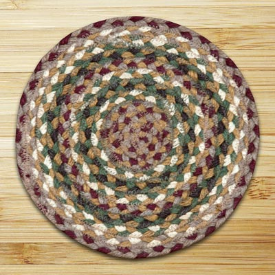 Olive, Burgundy, and Gray Braided Tablemat - Round