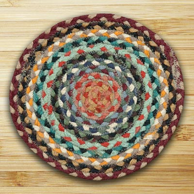 Burgundy and Russet and Blue Sky Braided Tablemat - Round