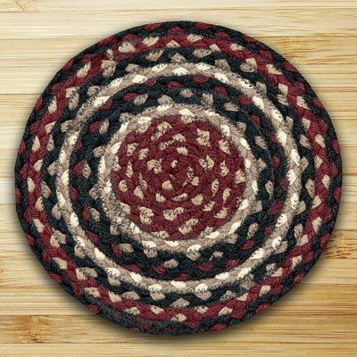 Burgundy, Black, and Tan Braided Tablemat - Round