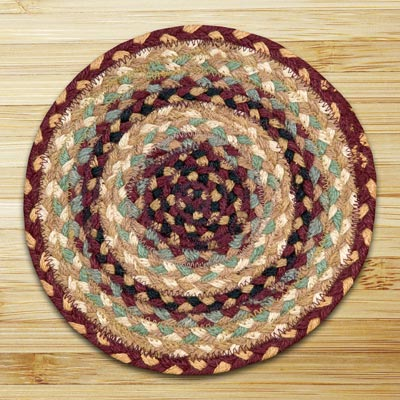 Burgundy, Gray, and Creme Braided Tablemat - Round