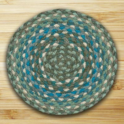 Sage and Ivory and Settlers Blue Braided Tablemat - Round