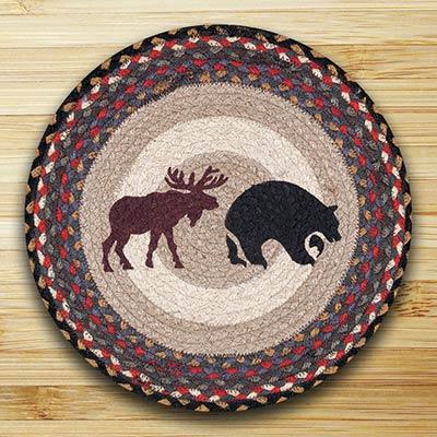 Black Bear and Moose Braided Jute Chair Pad