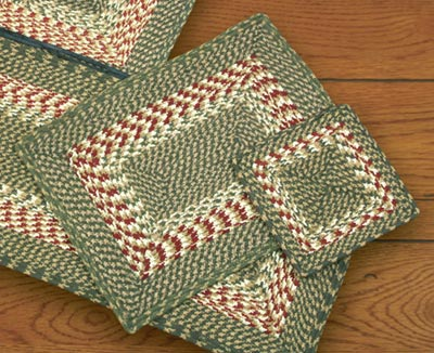 Green and Burgundy Square Braided Trivet