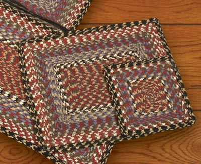 Burgundy, Blue, and Gray Square Braided Trivet