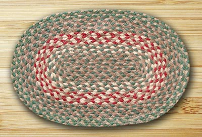 Green and Burgundy Braided Jute Placemat