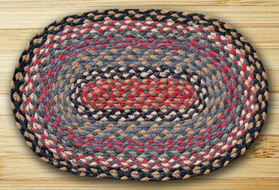 Burgundy, Blue, and Gray Braided Jute Placemat