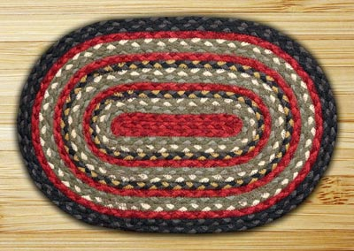Burgundy, Olive, and Charcoal Braided Jute Placemat
