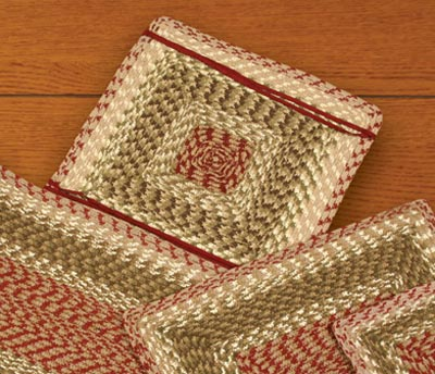 Olive, Burgundy, and Gray Cotton Tweed Chair Pad (Square)
