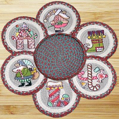 Candy Cane Santa Braided Trivet Set