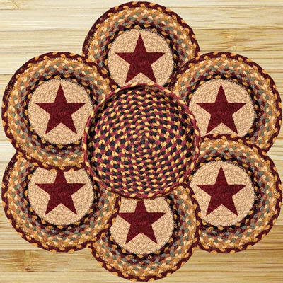 Burgundy Star Braided Trivet Set