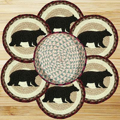 Cabin Black Bear Braided Jute Trivet Set