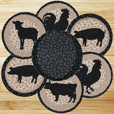 Barnyard Animals Braided Trivet Set